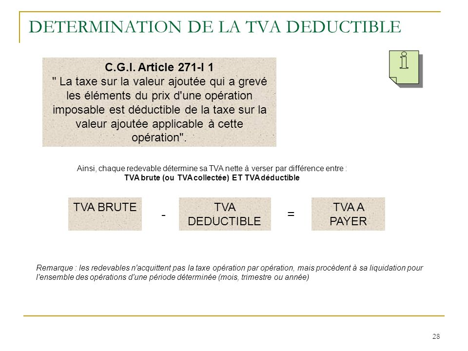 DETERMINATION DE LA TVA DEDUCTIBLE