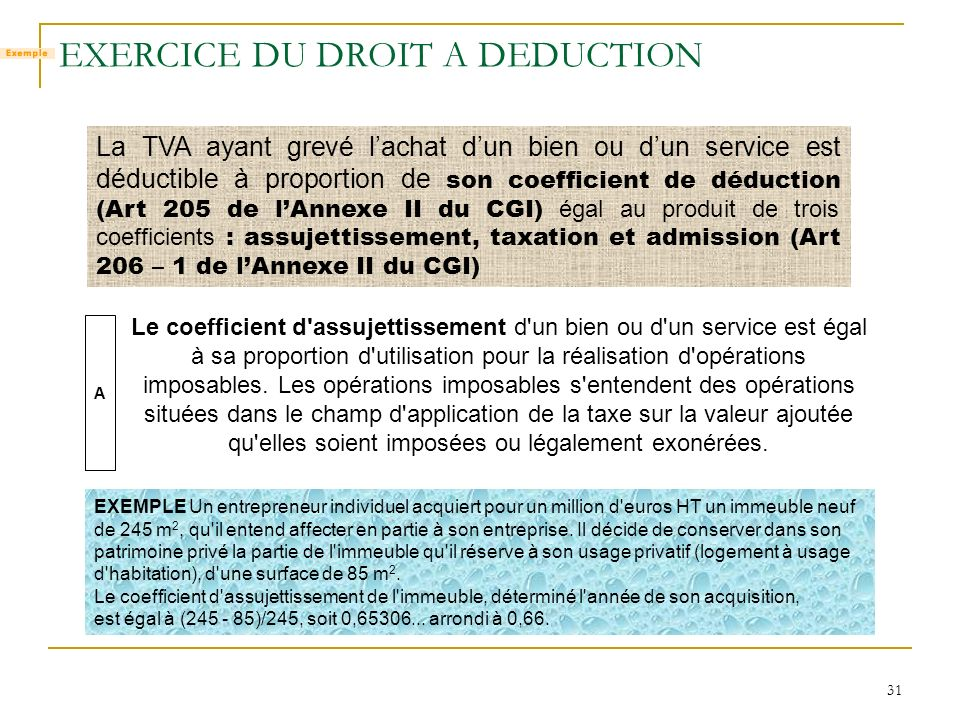 EXERCICE DU DROIT A DEDUCTION