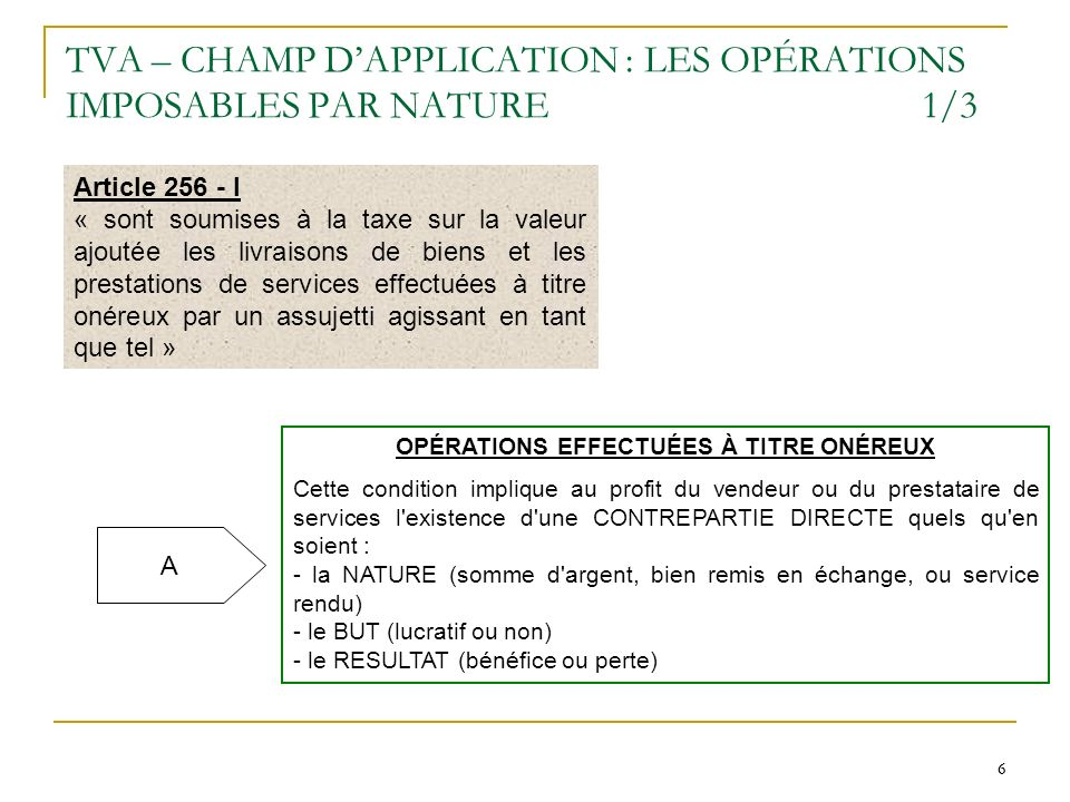 TVA – CHAMP D'APPLICATION : LES OPÉRATIONS IMPOSABLES PAR NATURE 1/3