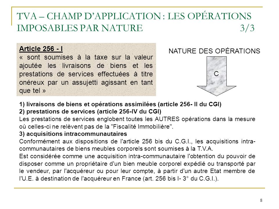 TVA – CHAMP D'APPLICATION : LES OPÉRATIONS IMPOSABLES PAR NATURE 3/3
