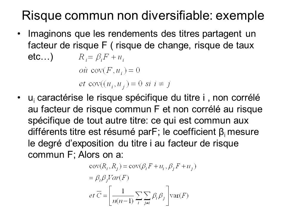 Risque commun non diversifiable: exemple