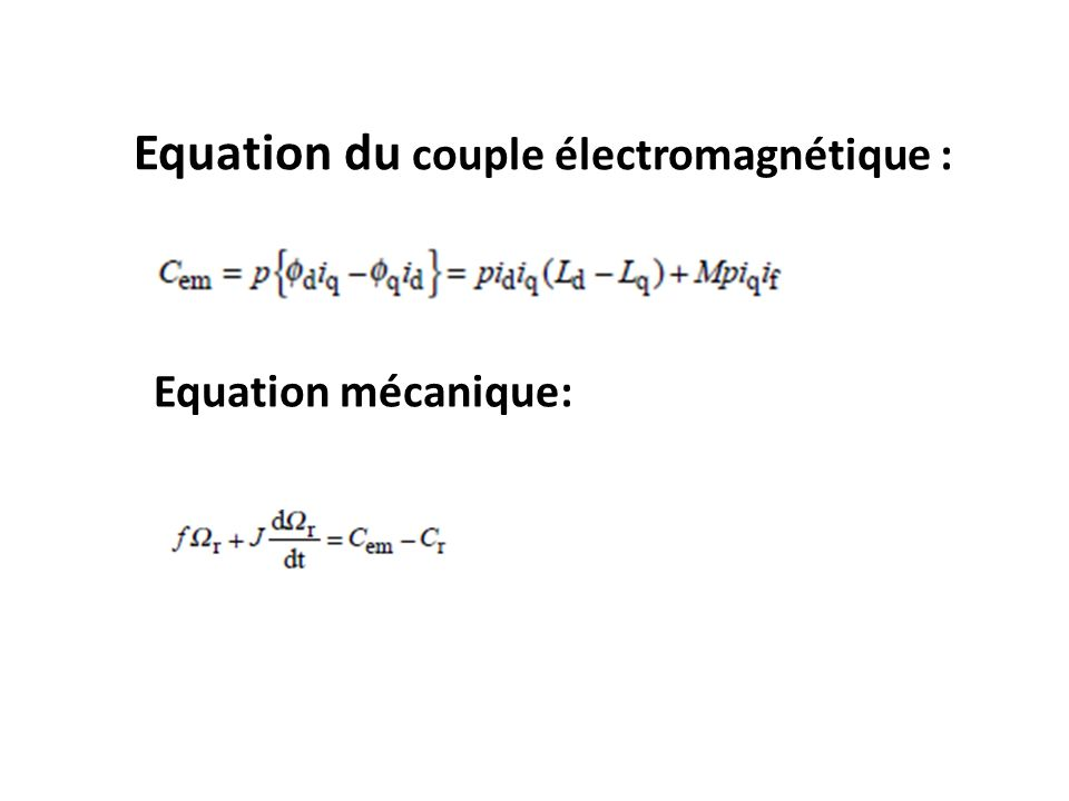 Equation du couple électromagnétique :