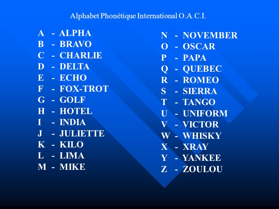Alphabet Phonétique International O.A.C.I.