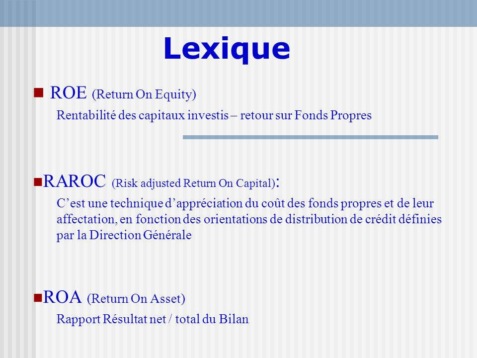 Lexique ROE (Return On Equity)