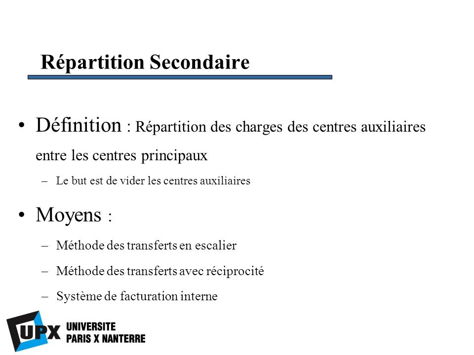 Répartition Secondaire