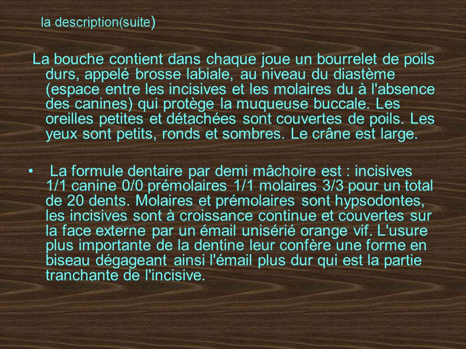 la description(suite)