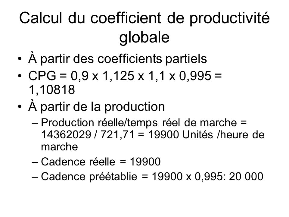 Calcul du coefficient de productivité globale