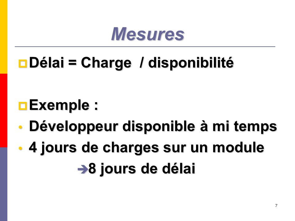 Mesures Délai = Charge / disponibilité Exemple :