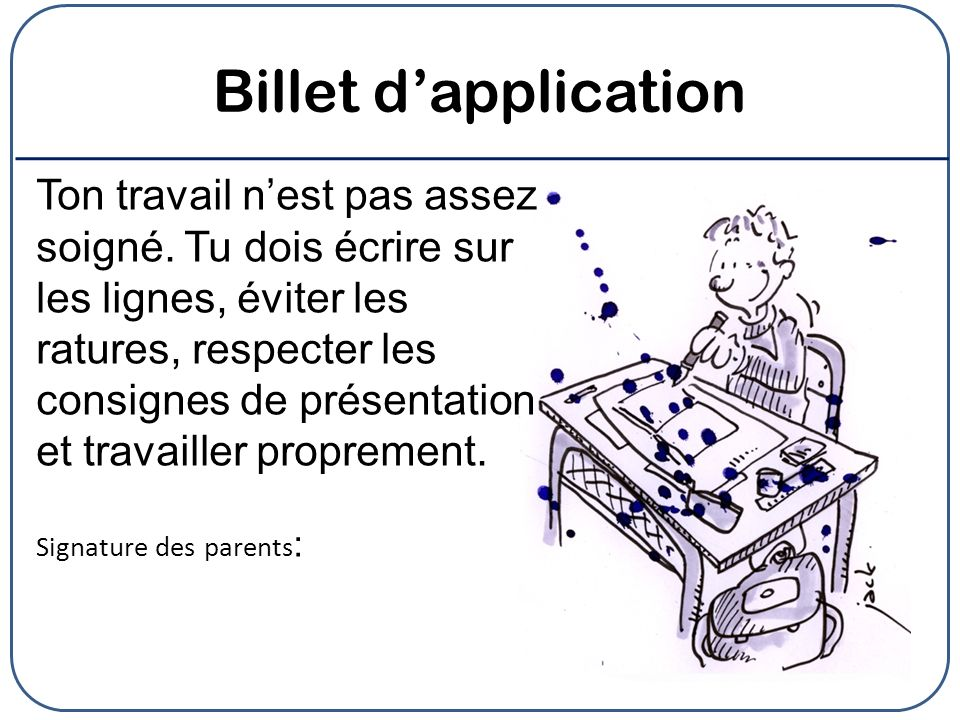 Billet d'application