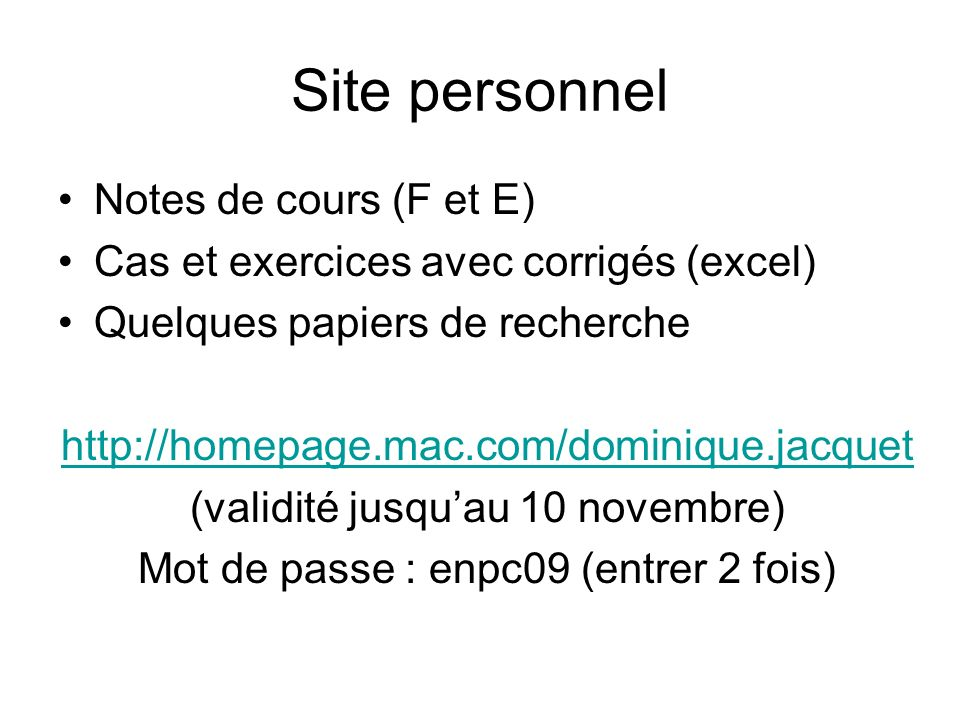 Site personnel Notes de cours (F et E)