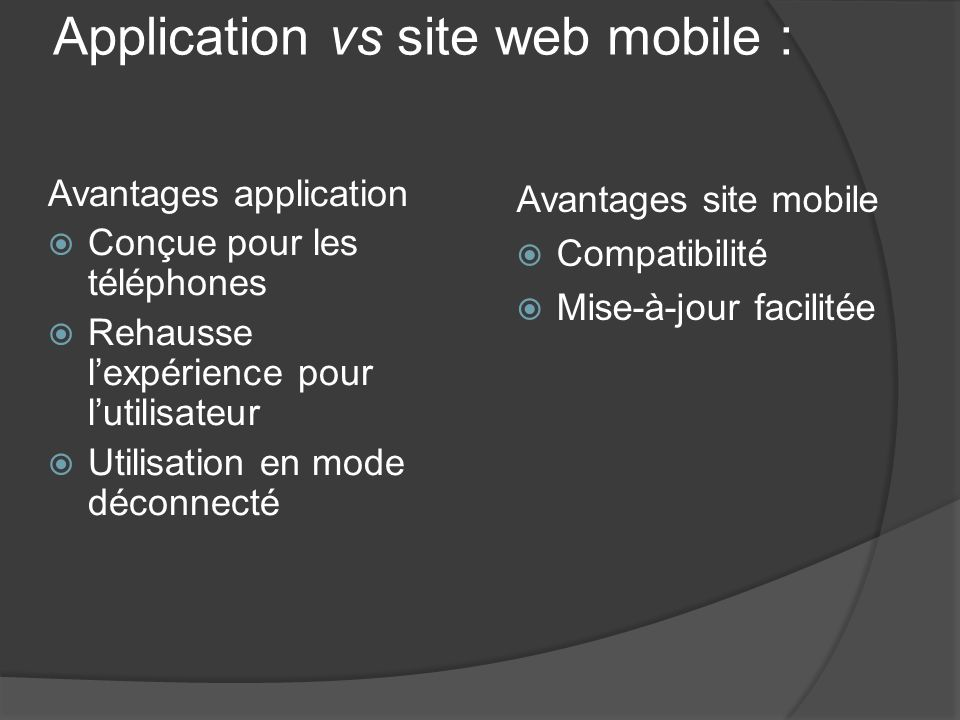 Application vs site web mobile :