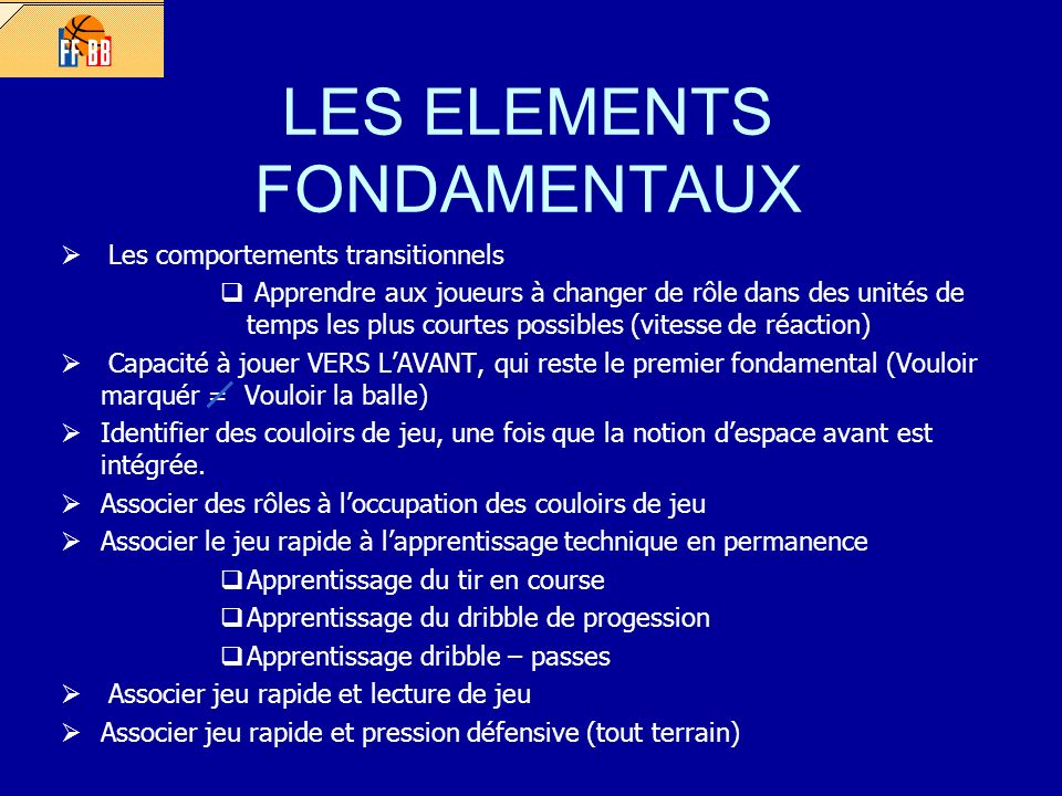 LES ELEMENTS FONDAMENTAUX