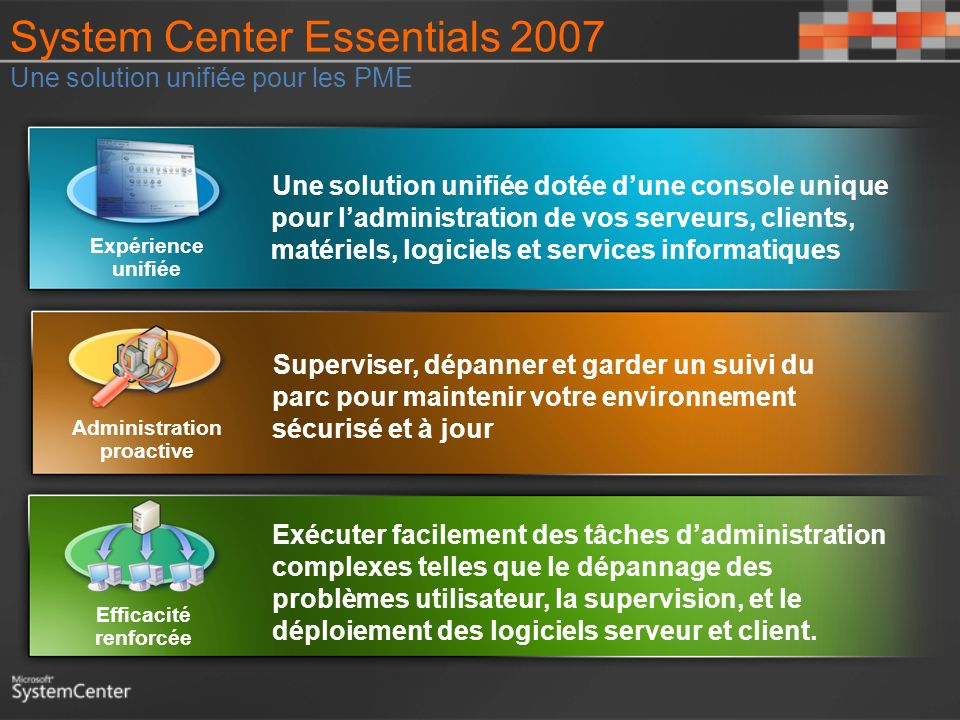 System Center Essentials 2007 Une solution unifiée pour les PME
