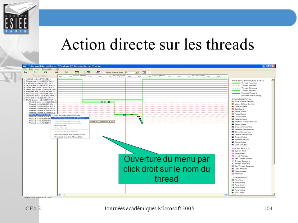 Action directe sur les threads