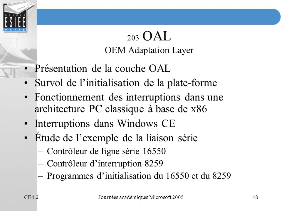 203 OAL OEM Adaptation Layer