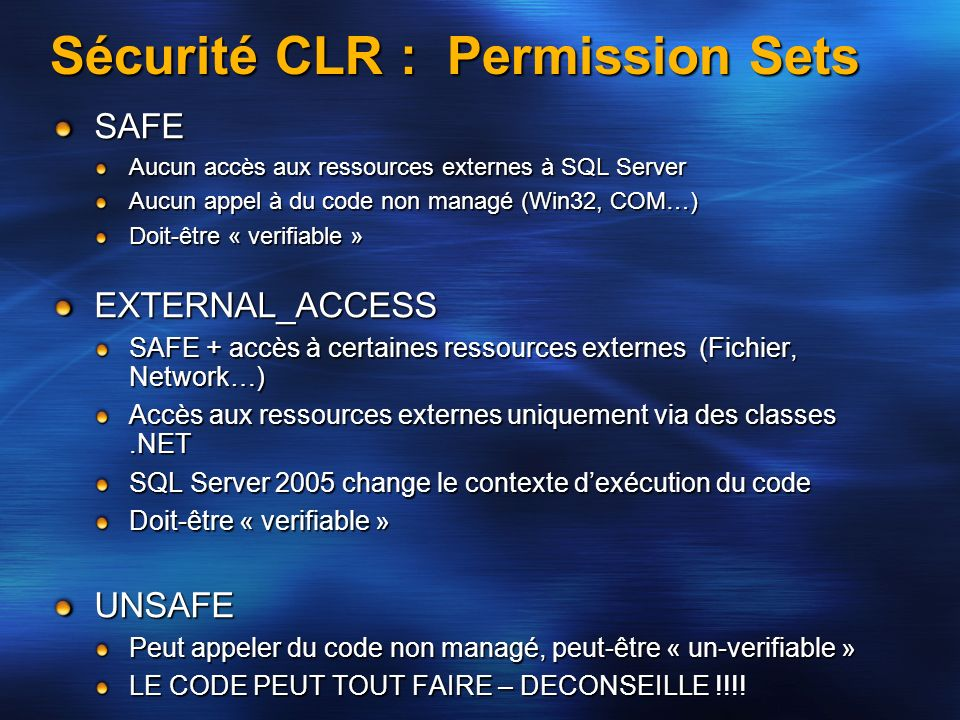 Sécurité CLR : Permission Sets
