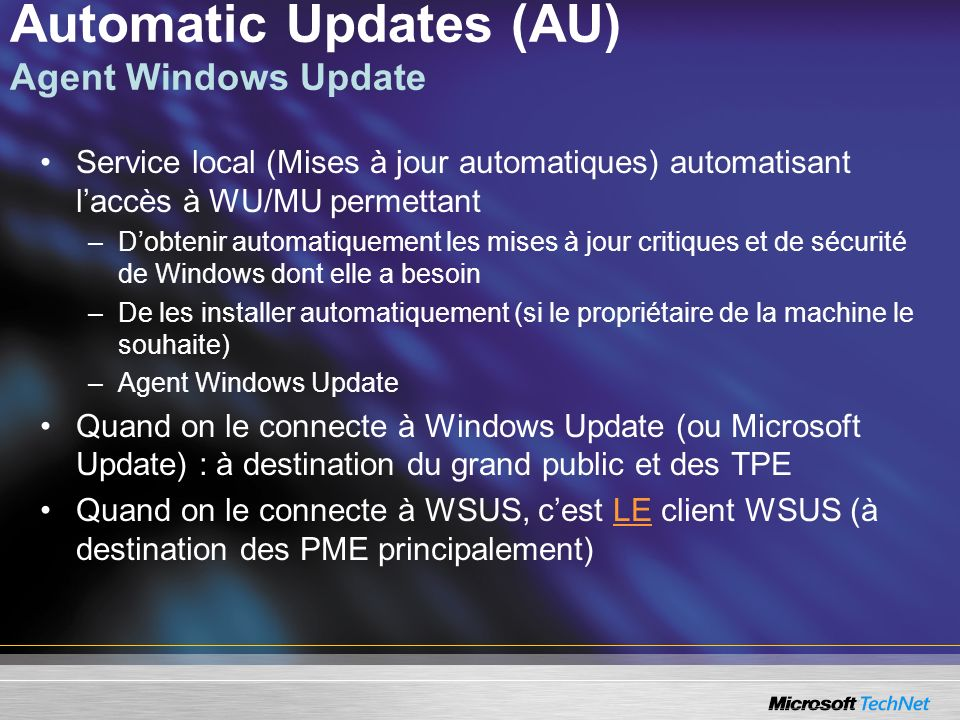 Automatic Updates (AU) Agent Windows Update