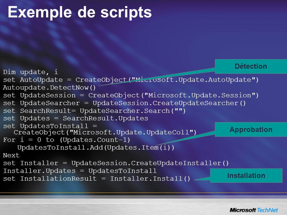 Exemple de scripts Dim update, i