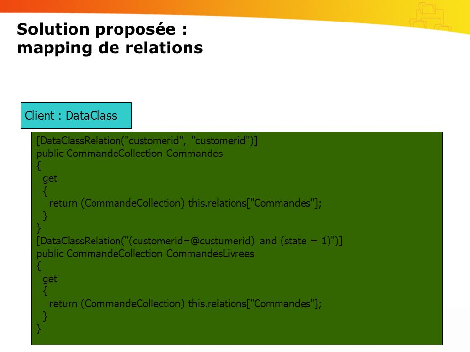 Solution proposée : mapping de relations