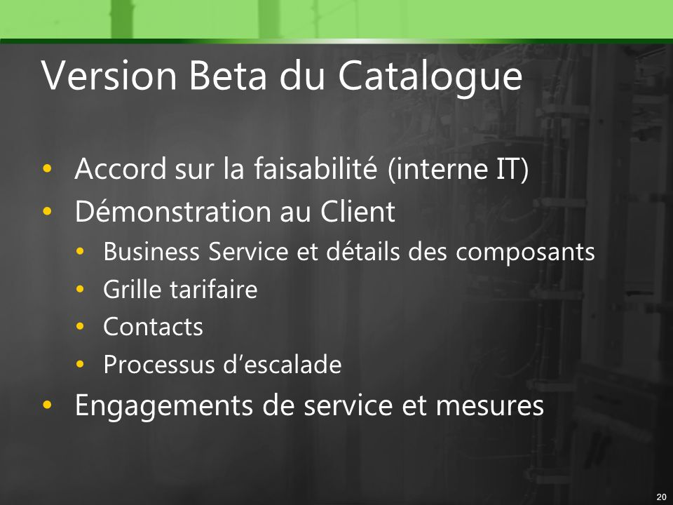 Version Beta du Catalogue