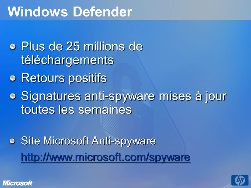 Windows Defender Plus de 25 millions de téléchargements