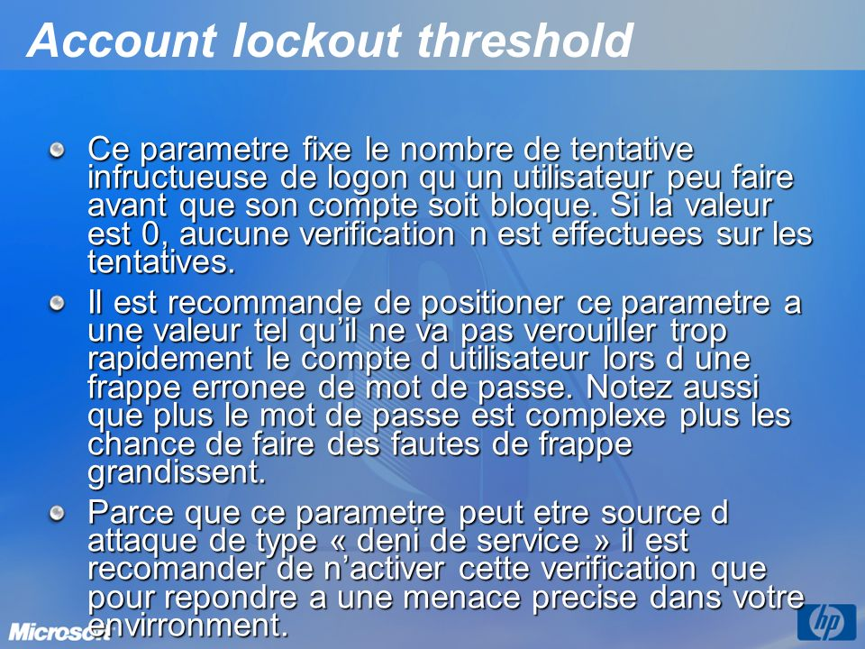 Account lockout threshold