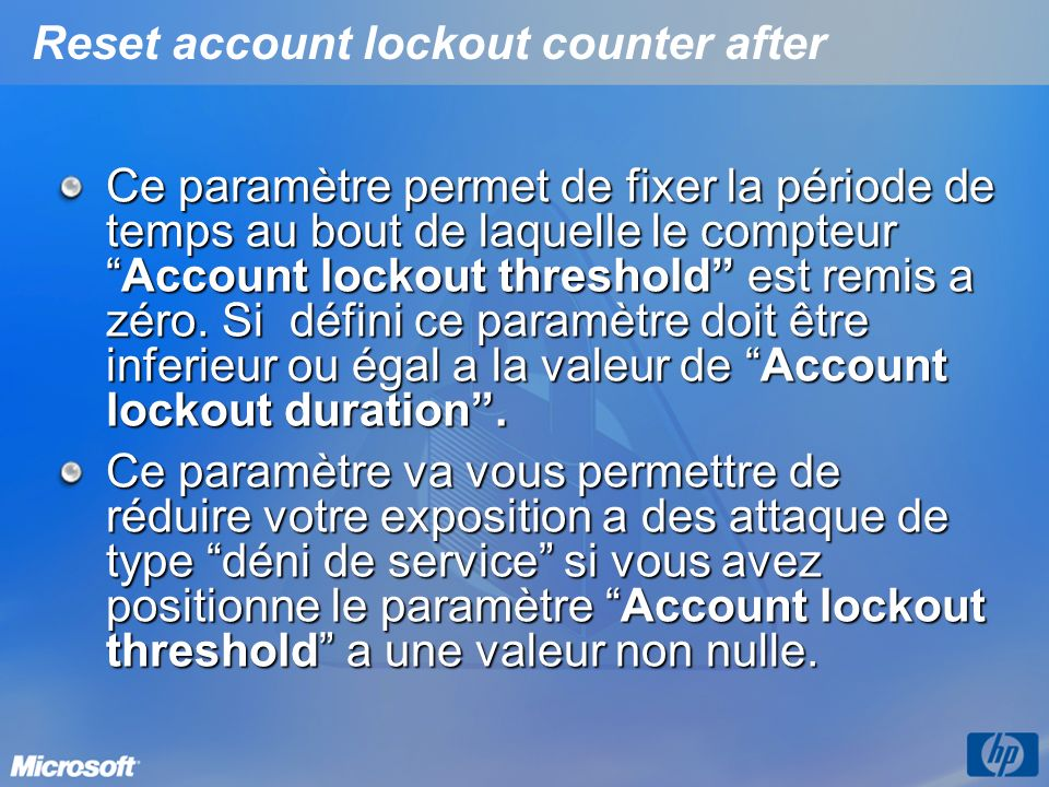 Reset account lockout counter after