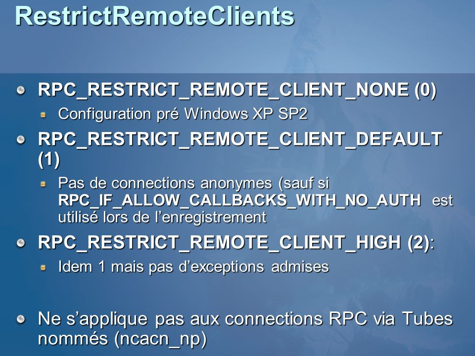 RestrictRemoteClients