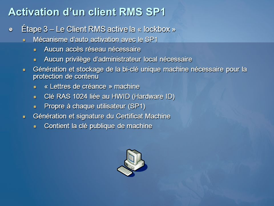 Activation d'un client RMS SP1