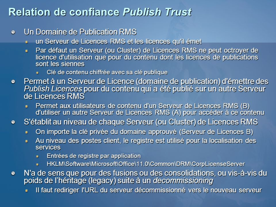 Relation de confiance Publish Trust