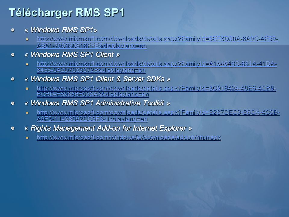 Télécharger RMS SP1 « Windows RMS SP1» « Windows RMS SP1 Client »