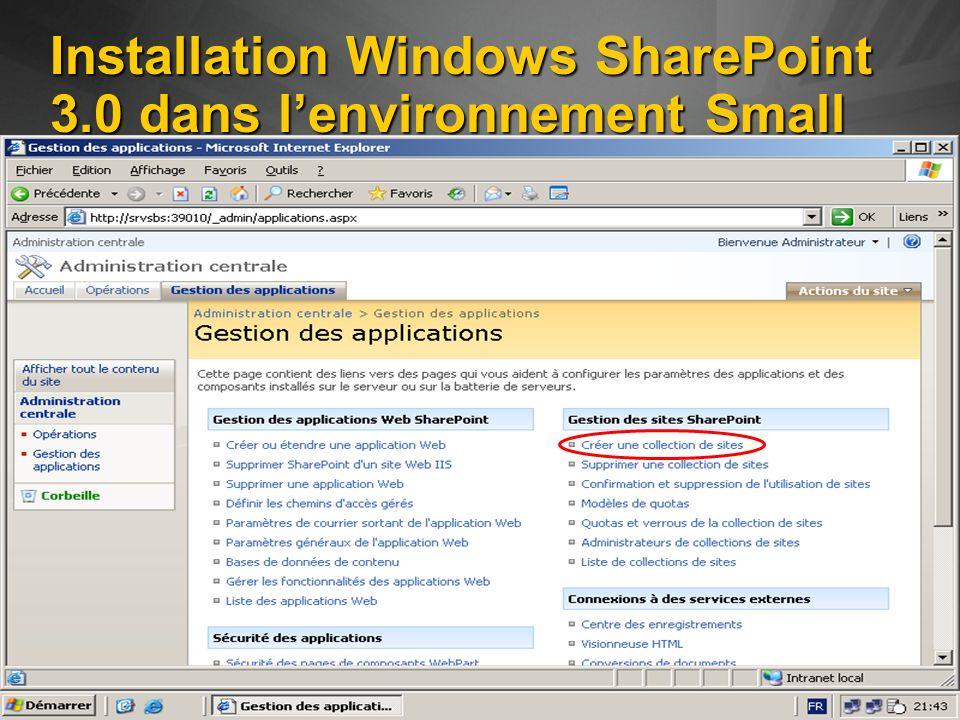 Installation Windows SharePoint 3