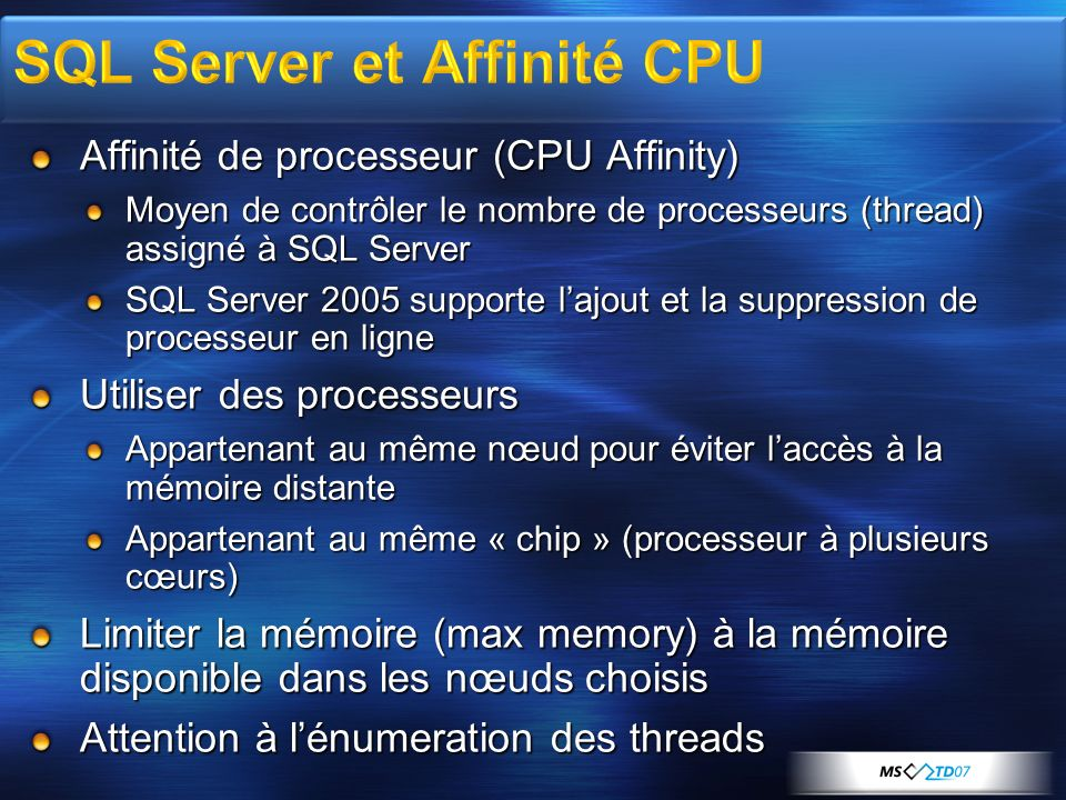 SQL Server et Affinité CPU