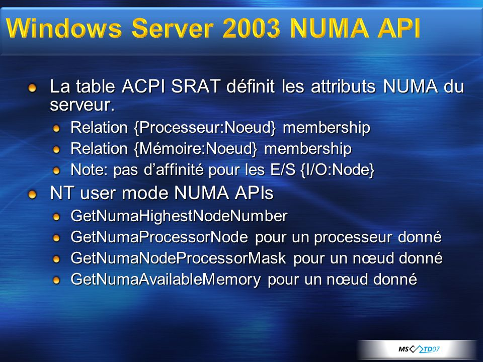 Windows Server 2003 NUMA API