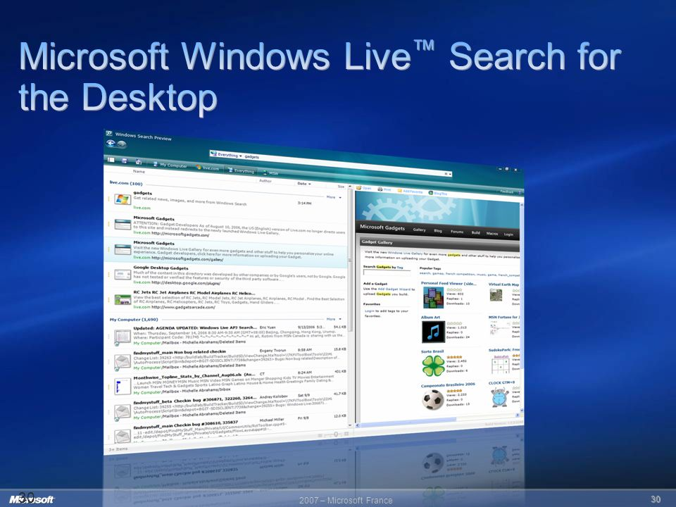 Microsoft Windows Live™ Search for the Desktop