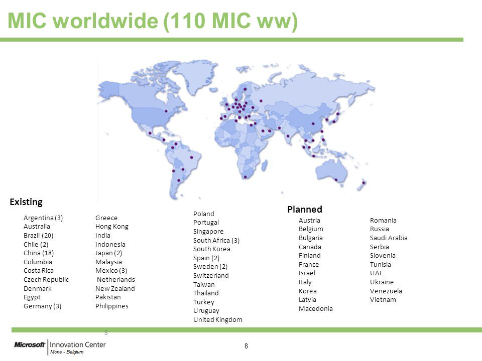 MIC worldwide (110 MIC ww) Existing Planned Poland Portugal Singapore