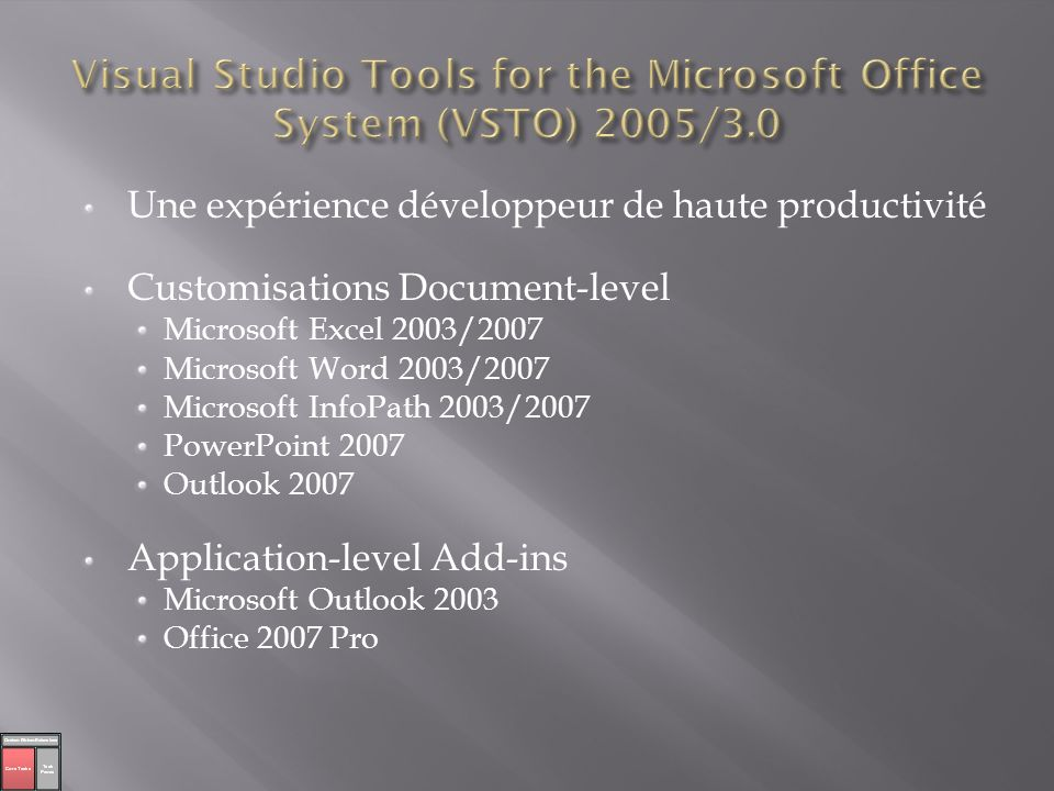 Visual Studio Tools for the Microsoft Office System (VSTO) 2005/3.0