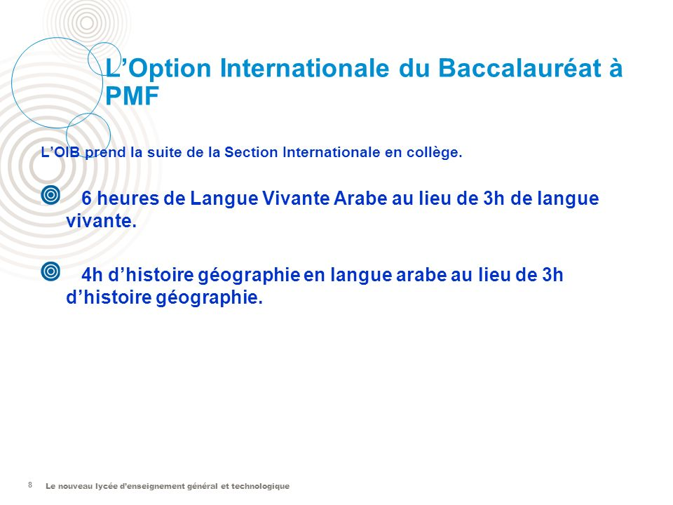 L'Option Internationale du Baccalauréat à PMF