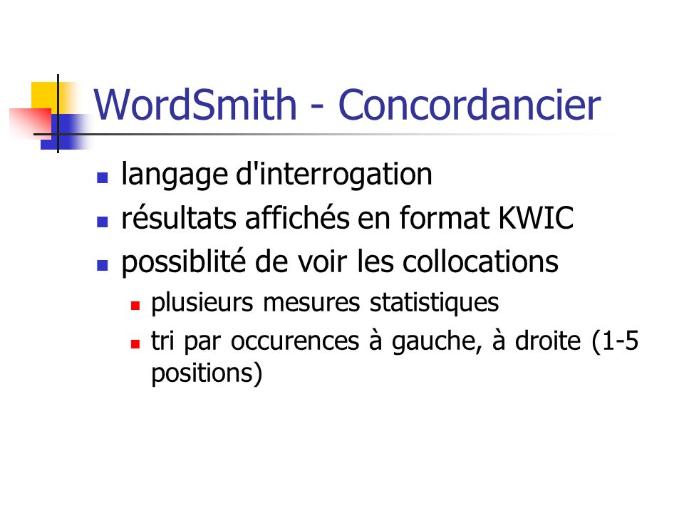 WordSmith - Concordancier