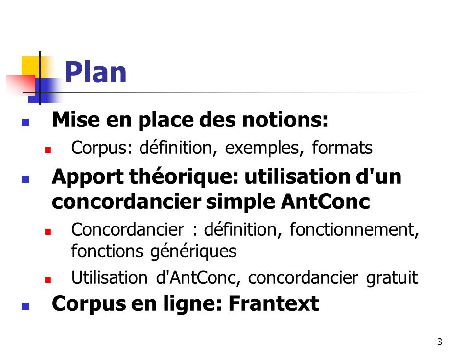 Plan Mise en place des notions: