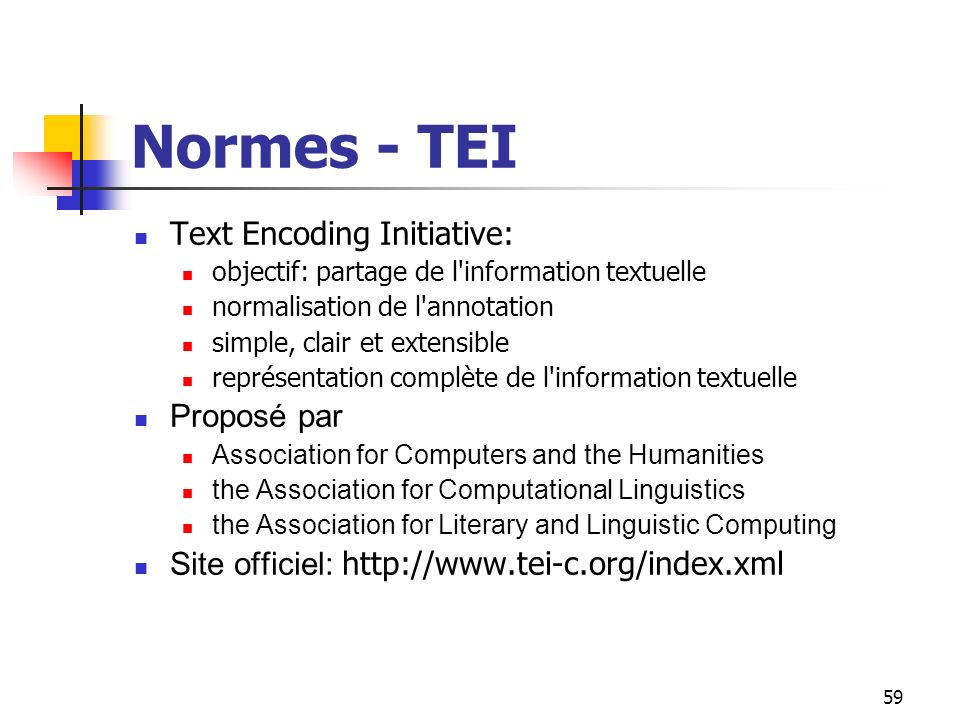 Normes - TEI Text Encoding Initiative: Proposé par