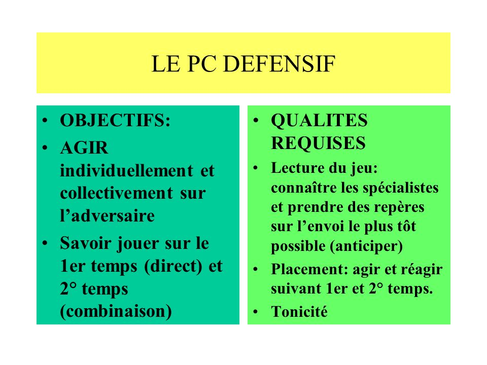 LE PC DEFENSIF OBJECTIFS:
