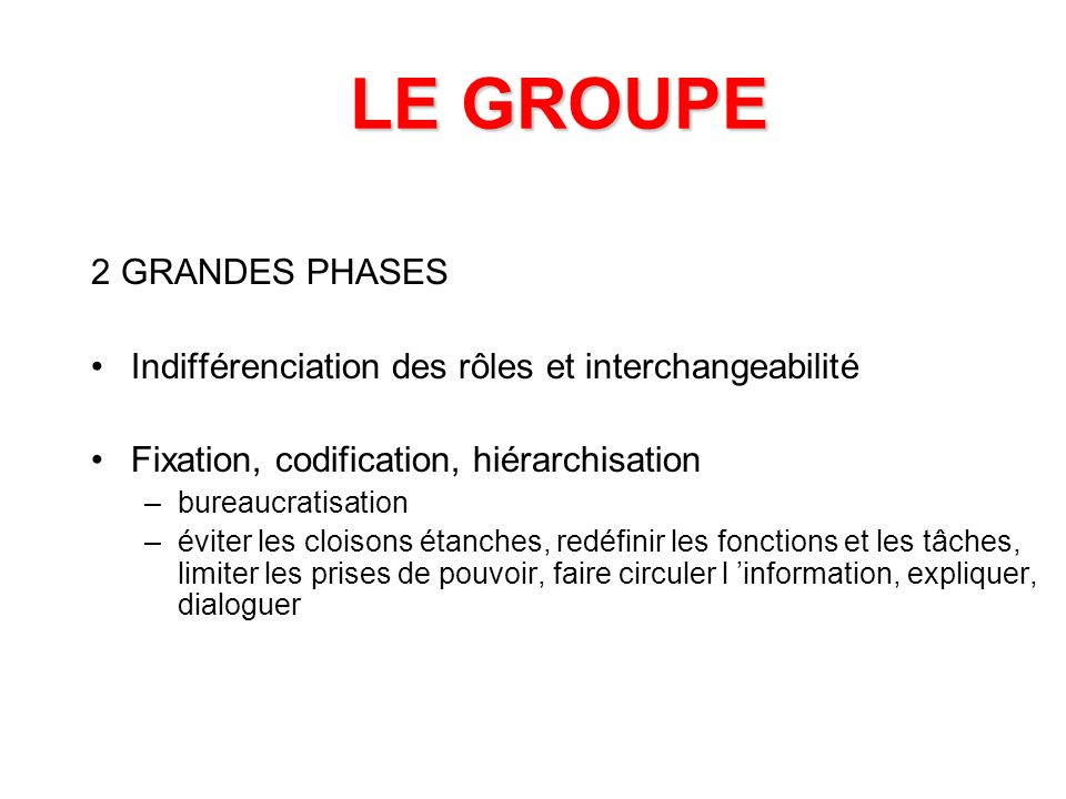 LE GROUPE 2 GRANDES PHASES