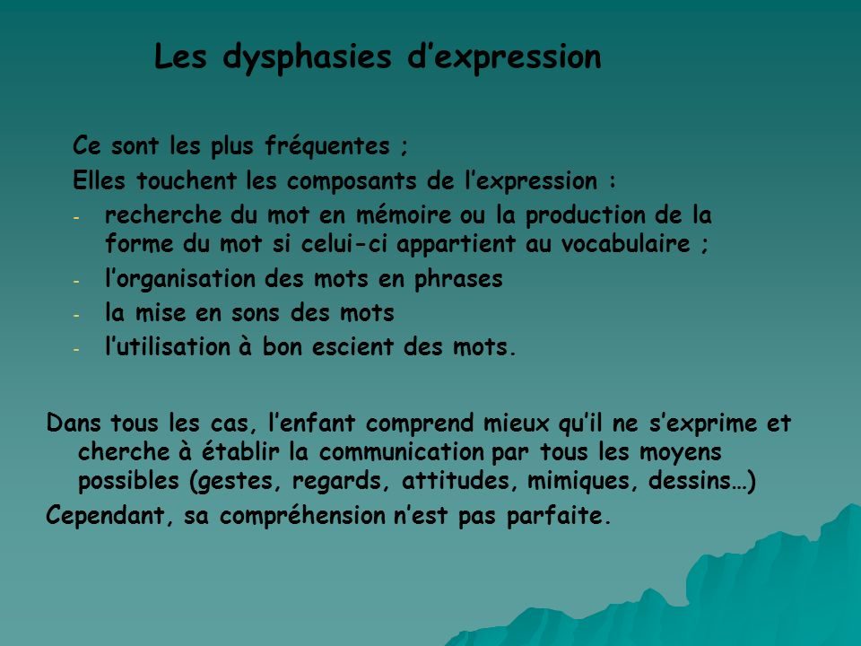 Les dysphasies d'expression
