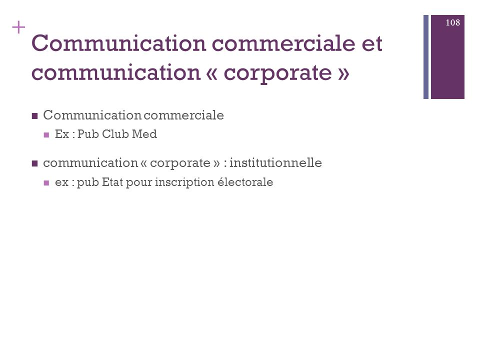 Communication commerciale et communication « corporate »