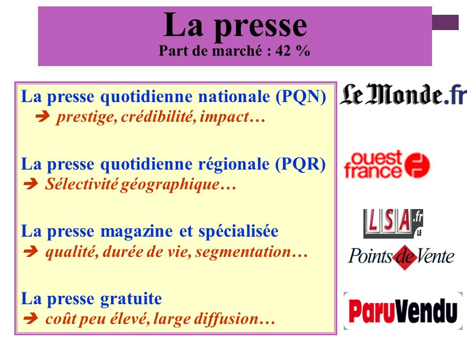La presse La presse quotidienne nationale (PQN)