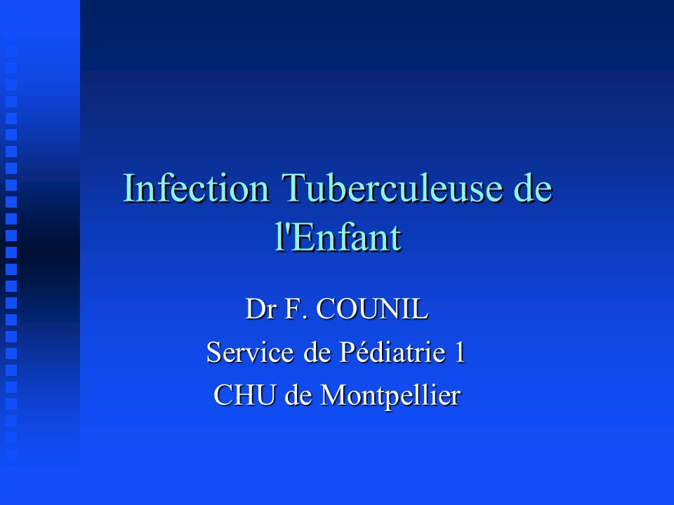 Infection Tuberculeuse de l Enfant