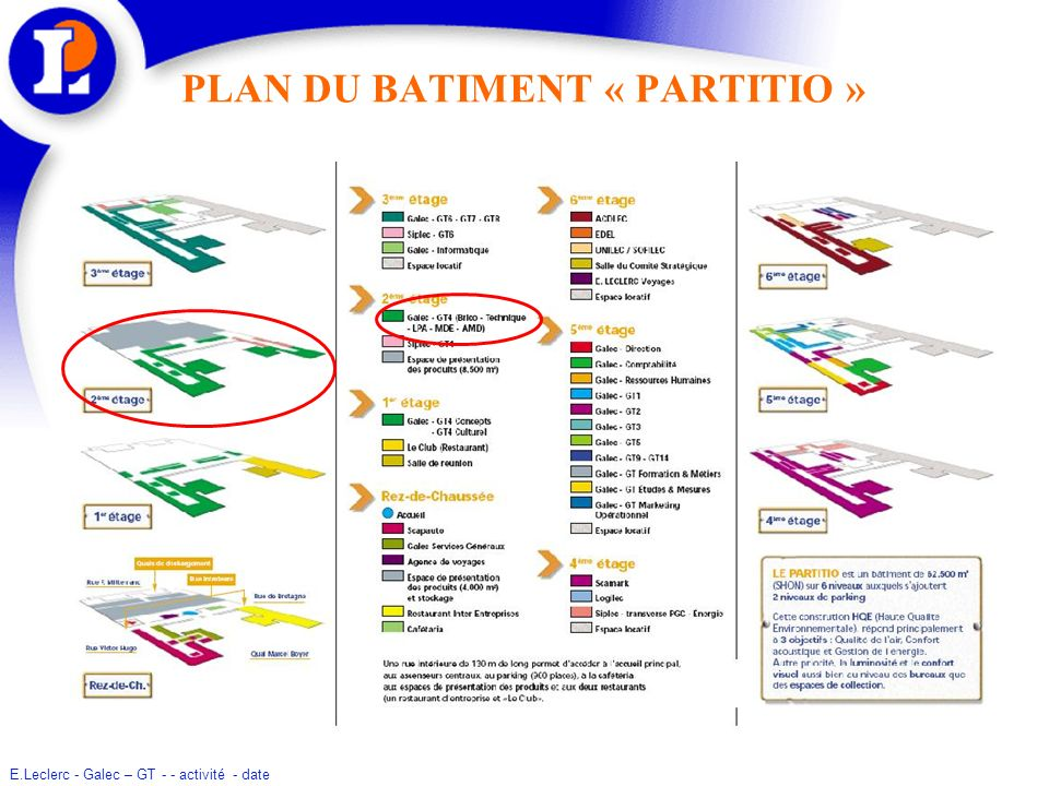 PLAN DU BATIMENT « PARTITIO »