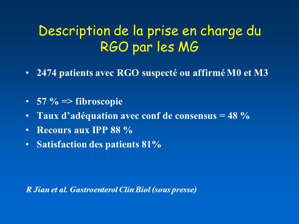 Description de la prise en charge du RGO par les MG
