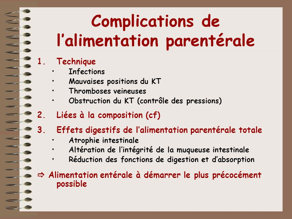 Complications de l'alimentation parentérale